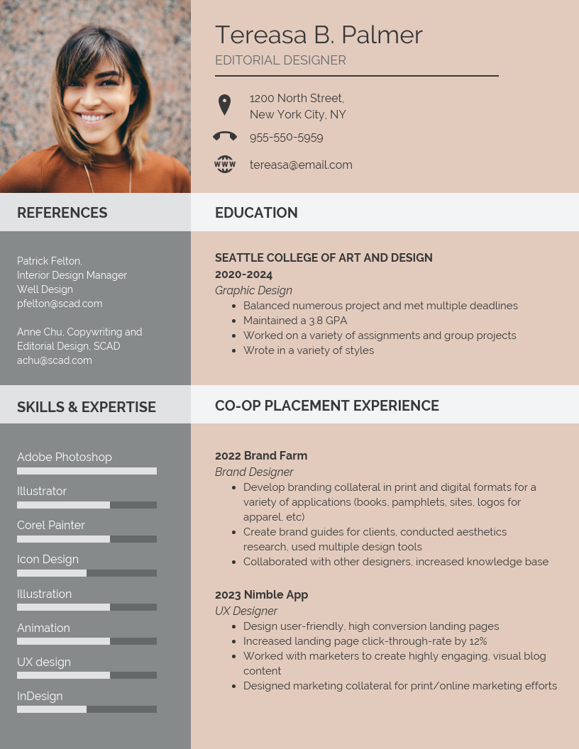 Beige Editorial Designer Student Resume Template
