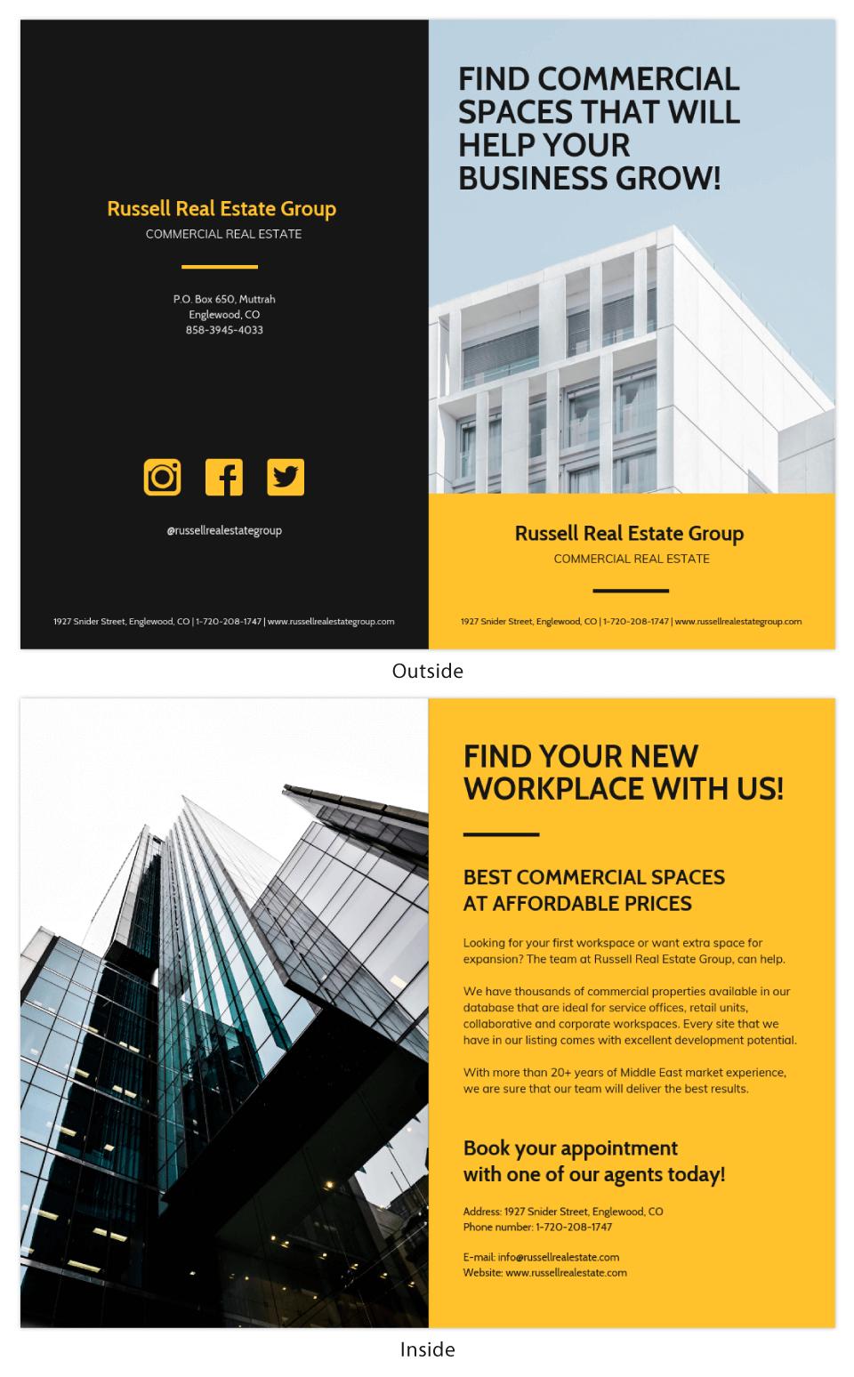 Yellow Commercial Bi Fold Brochure Template