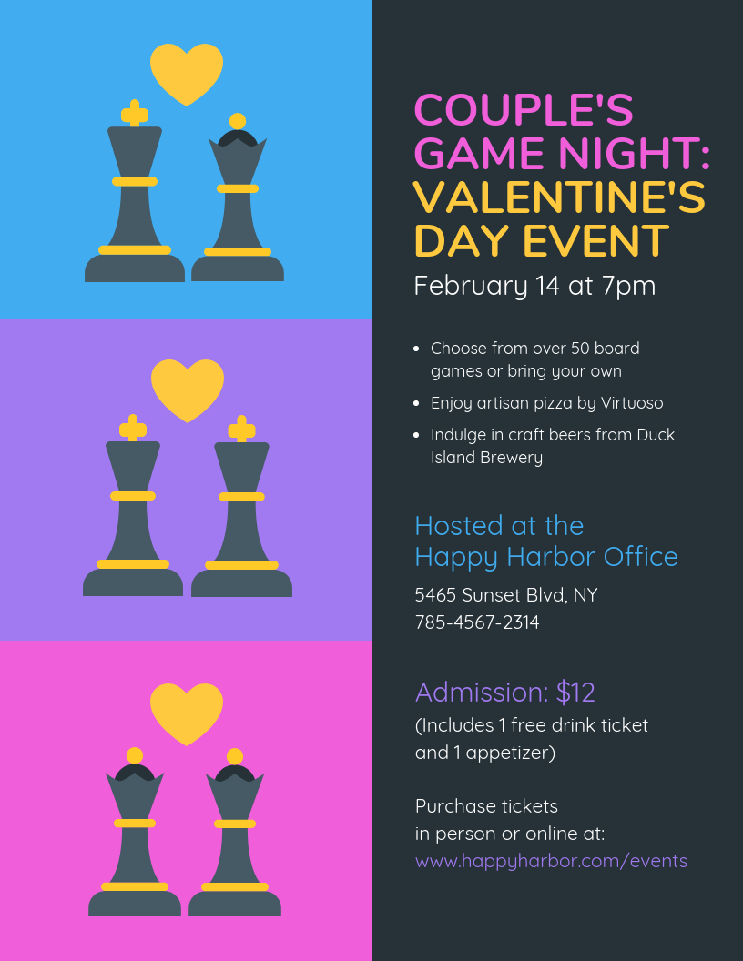 Couple's Game Night Valentine's Day Event Flyer Template
