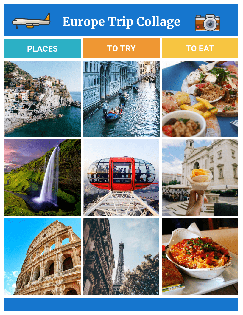 Simple Travel Grid Photo Collage Template