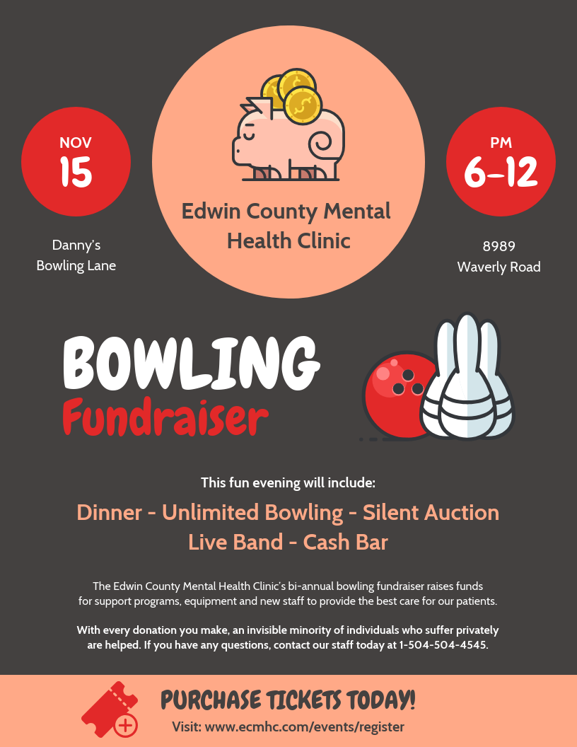 Dark Bowling Fundraising Poster Template