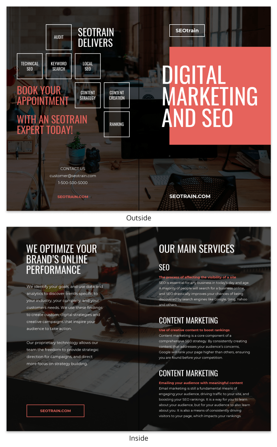 Dark Consulting Business Bi Fold Brochure Template