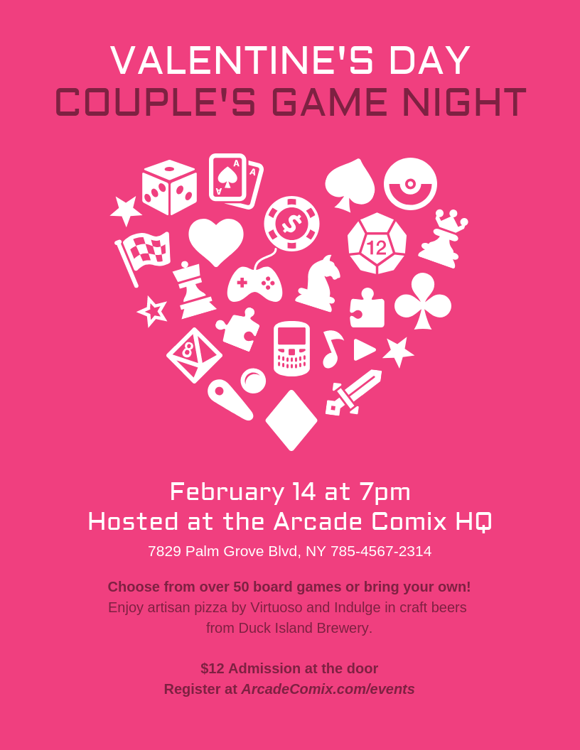 Game Night Valentine's Day Event Flyer Template