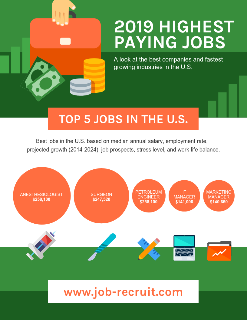 2019 Highest Paying Jobs Statistics Template Template - Venngage