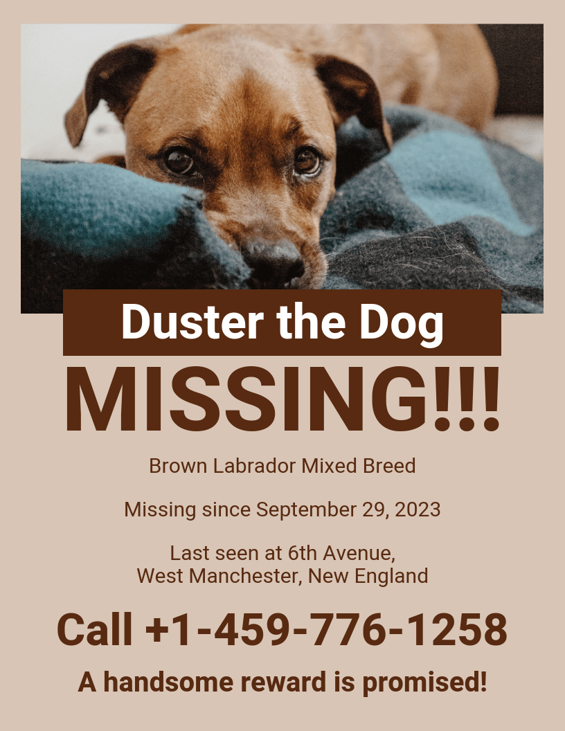 Monochromatic Missing Dog Poster Template