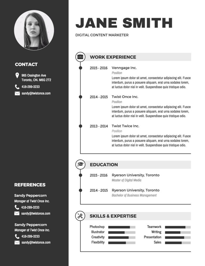 Modern Black and White Resume Template - Venngage
