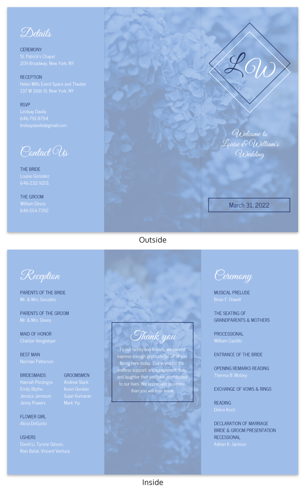 Spring Wedding Trifold Brochure Template