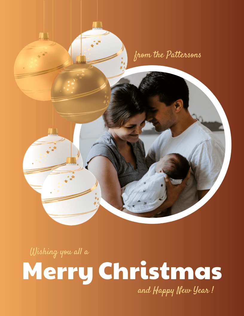 Classic Family Photo Christmas Card Template