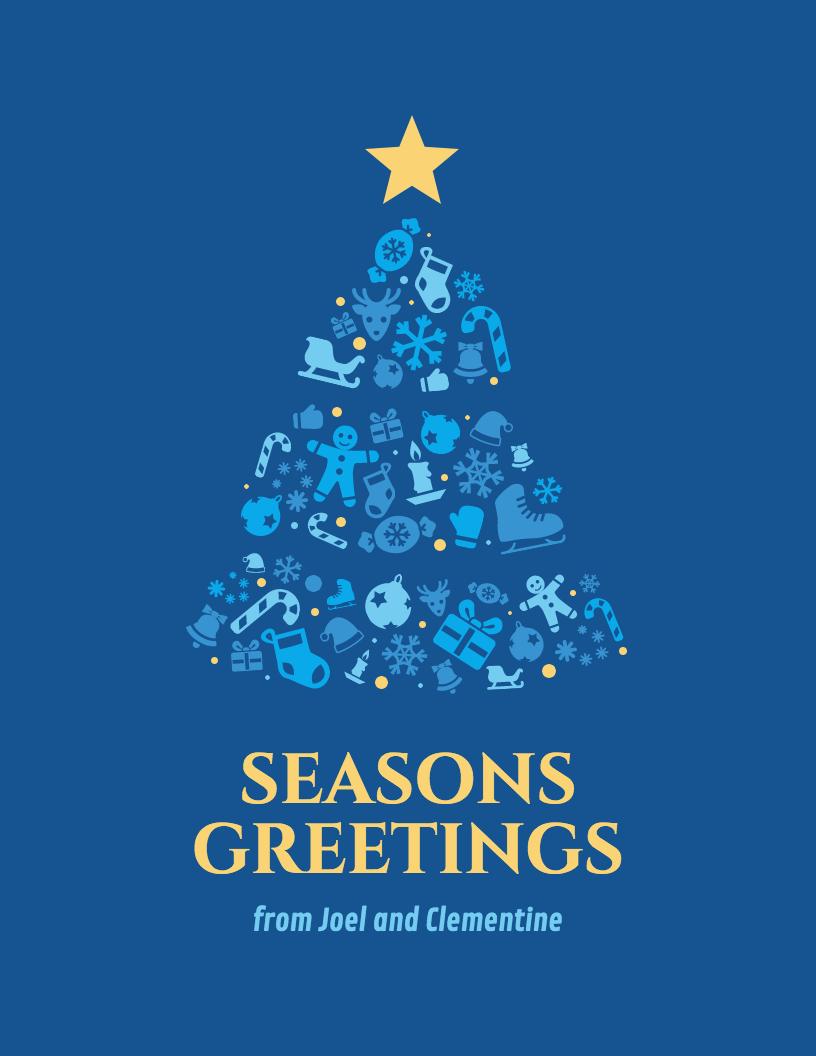 Christmas Tree Greeting Card Template