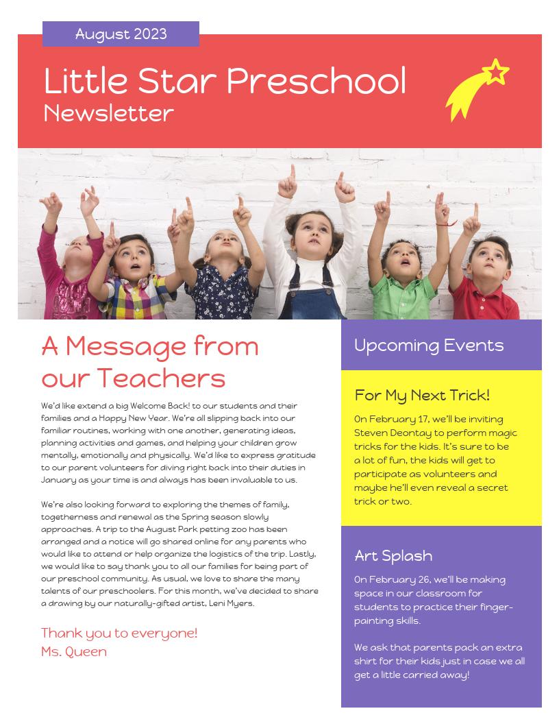 Vibrant Preschool Newsletter Template
