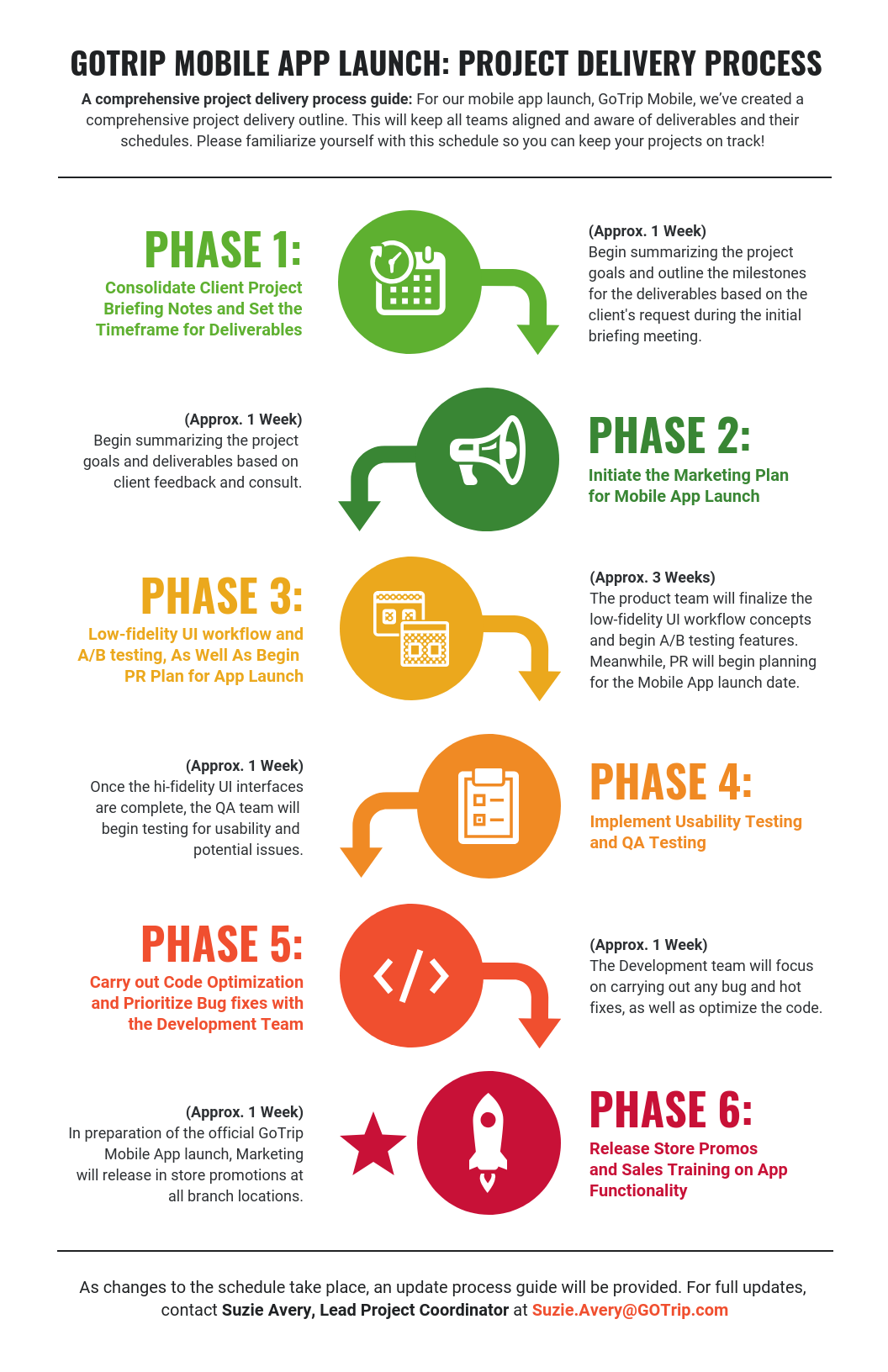 Company App Project Delivery Process Infographic Template