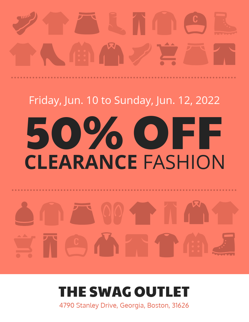 retail sale clothing flyer template