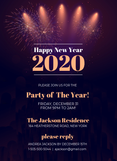 Sparkly New Year's Eve Party Invitation
