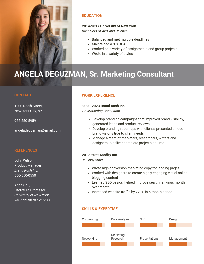 Modern Marketing Consultant Resume Template