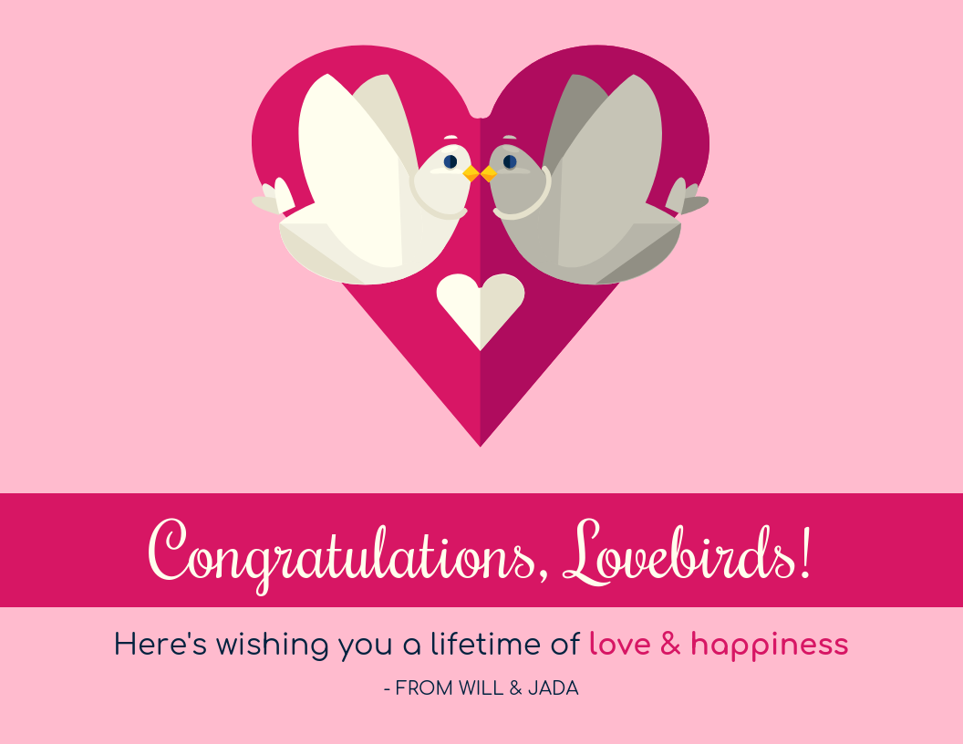 Simple Engagement Congratulations Card Template