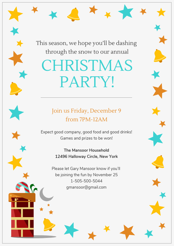 Vibrant Christmas Party Invitation Template