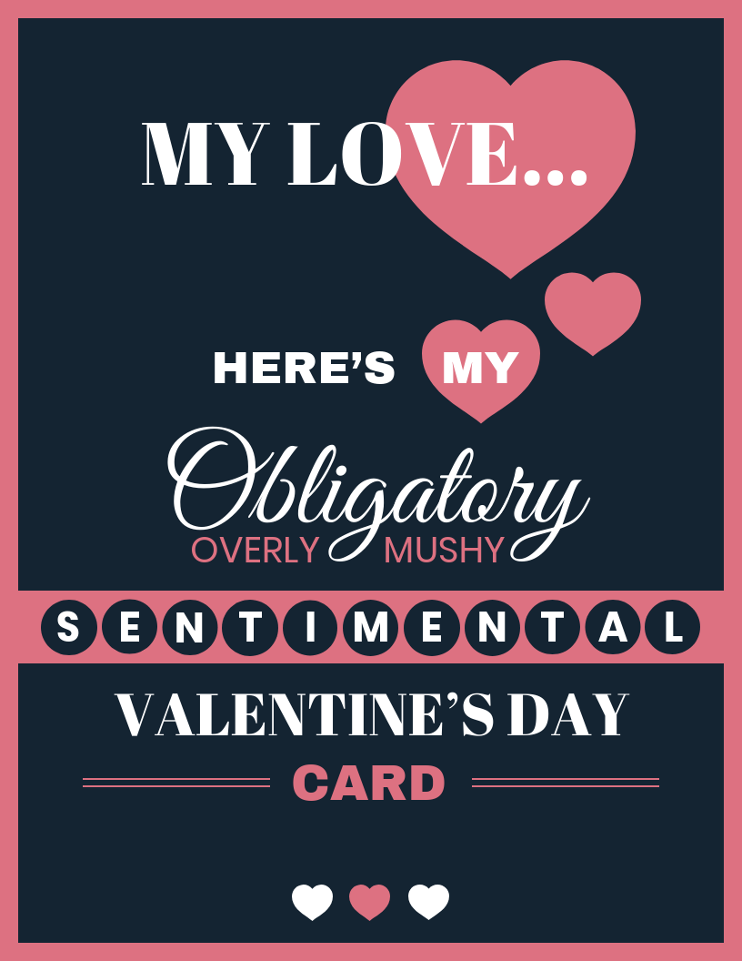 Funny Dark Valentine's Day Card Template