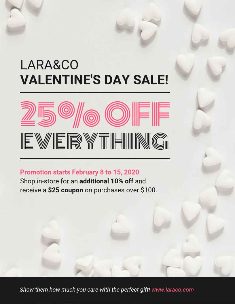 Simple Valentine's Day Promotion Sale Flyer Template