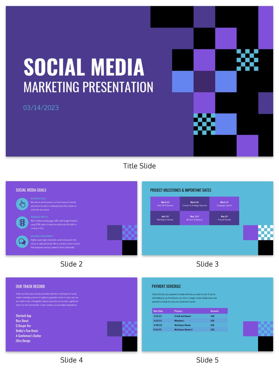 Purple Checkered Social Media Presentation Template