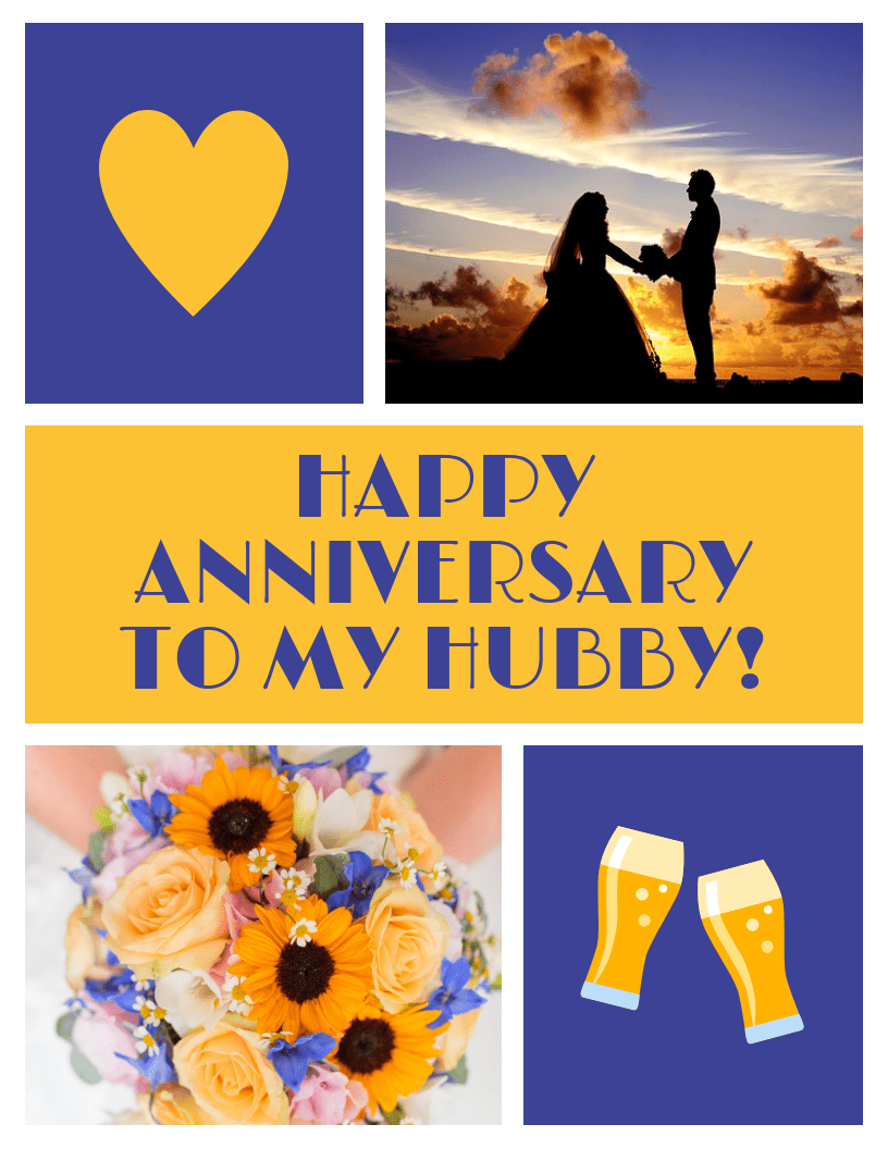 Husband Wedding Anniversary Card Template