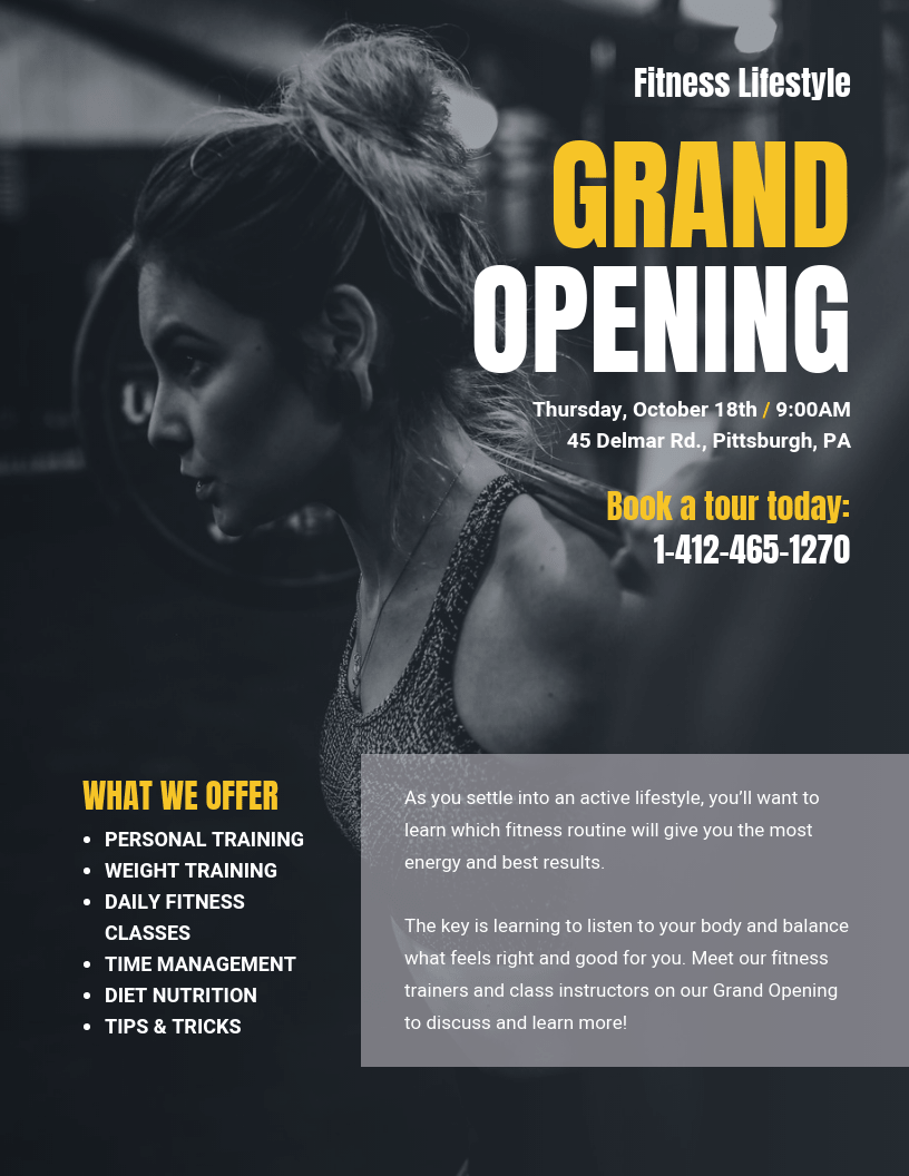 Fitness Grand Opening Event Poster Template