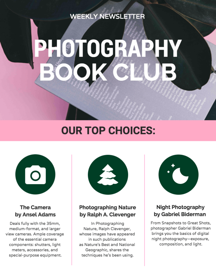 Book Club Newsletter Template