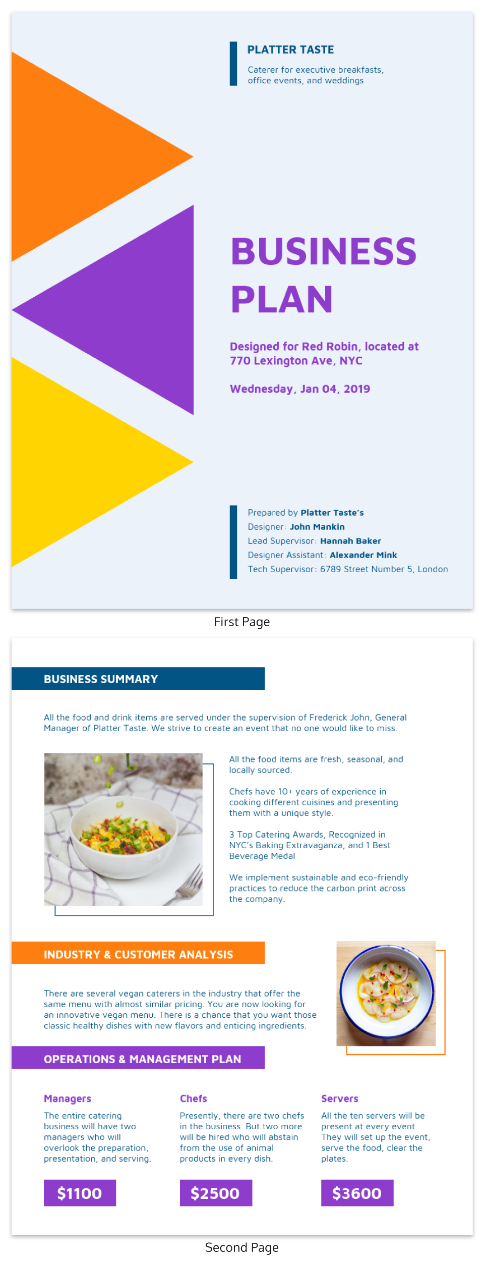 Colorful Hospitality Business Plan Template