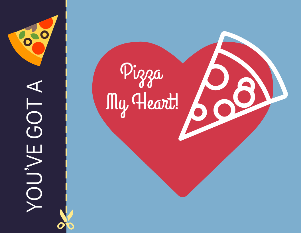 Pizza My Heart Valentine's Day Card Template