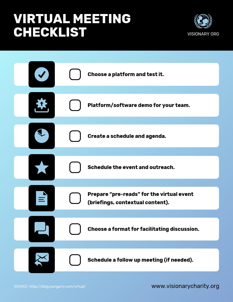 Nonprofit Virtual Meeting Checklist Template
