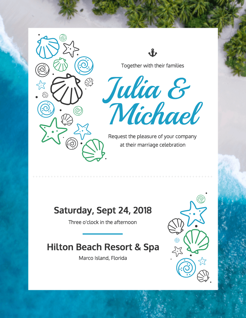 Beach Wedding Invitation Template Template Venngage