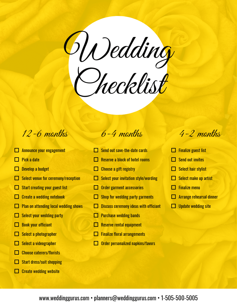 Yellow Wedding Checklist Infographic Template Template