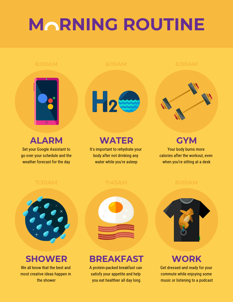 Morning Routine Infographic Template