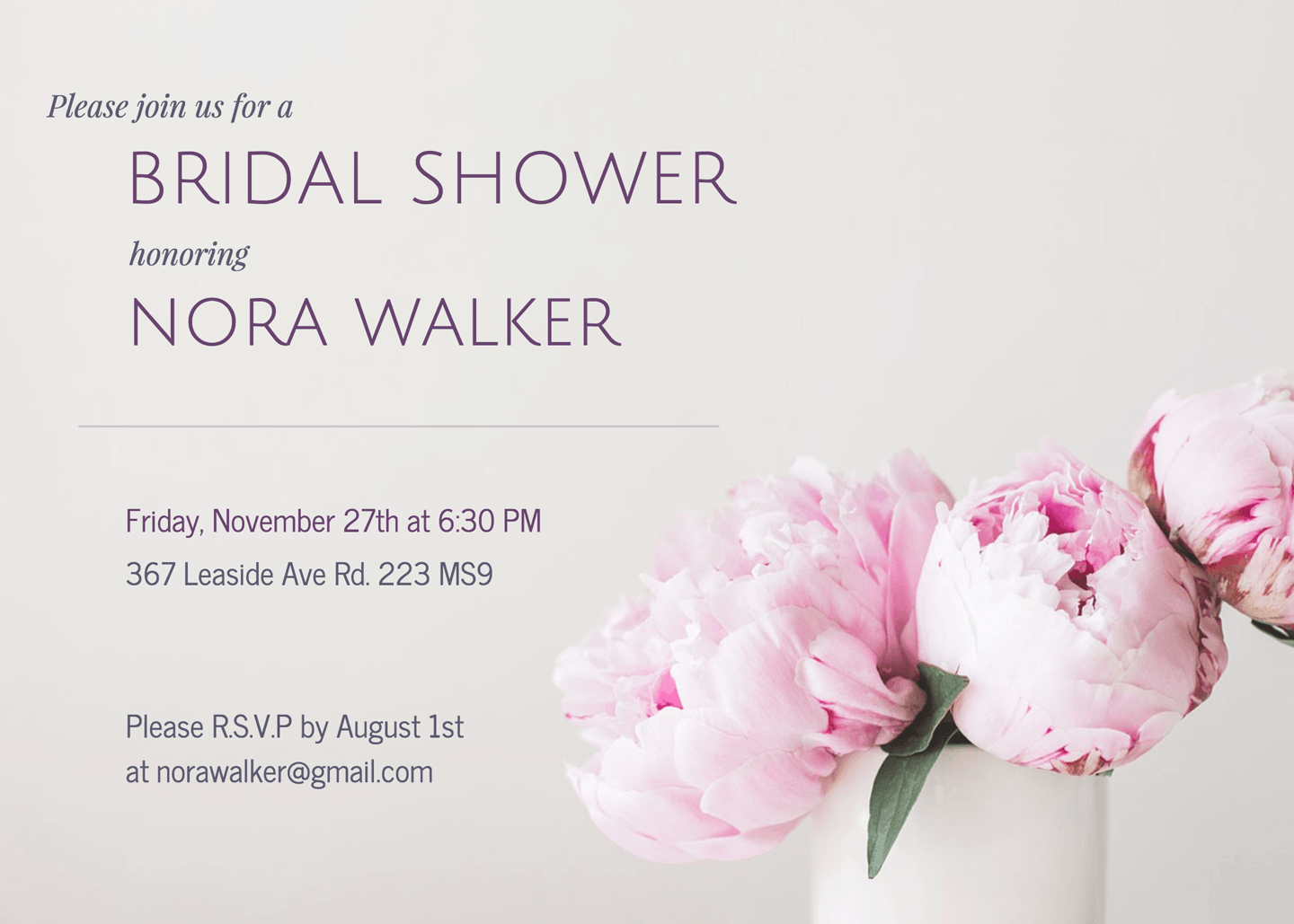Bridal Shower Invitation Templates | Peonies Bridal Shower Invitation Template Venngage