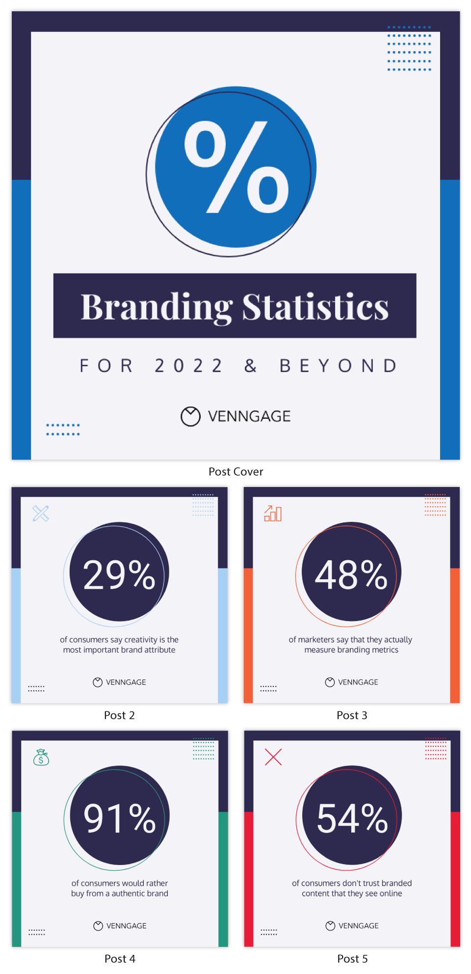 Branding Statistics Instagram Carousel Post Template