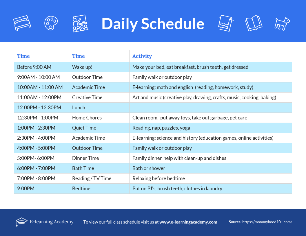 E-learning Daily Schedule Template
