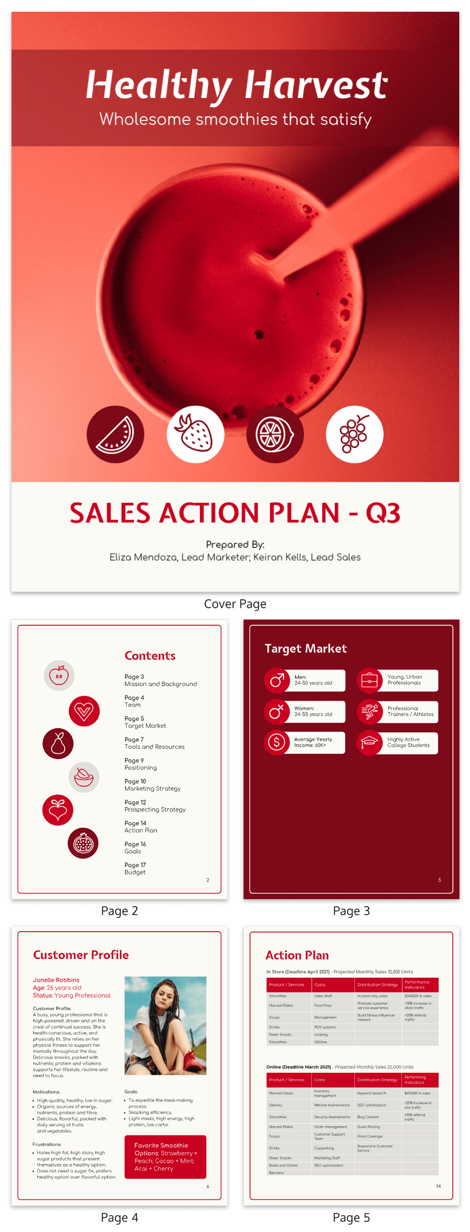 Red Customer Sales Action Plan Template