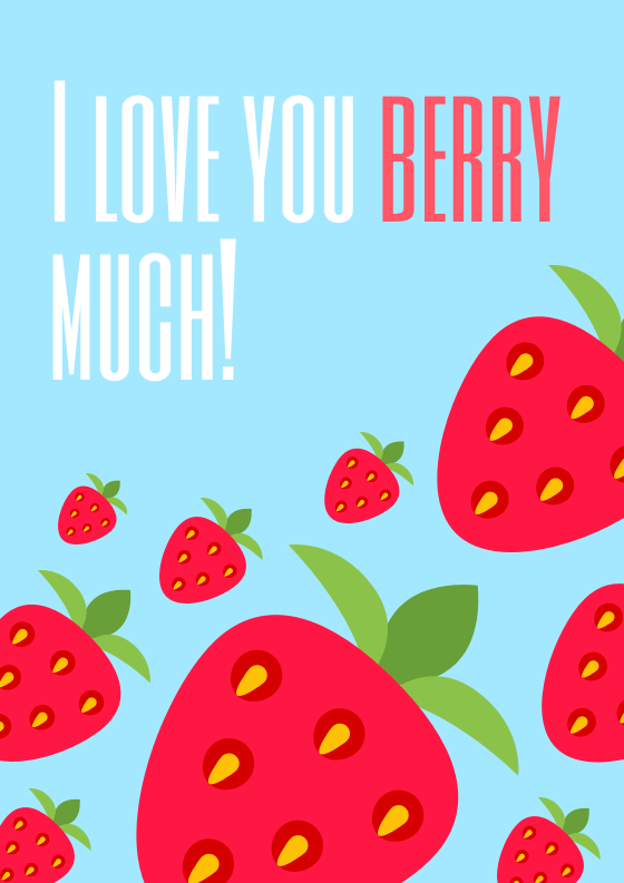 I Love You Berry Much Card Template
