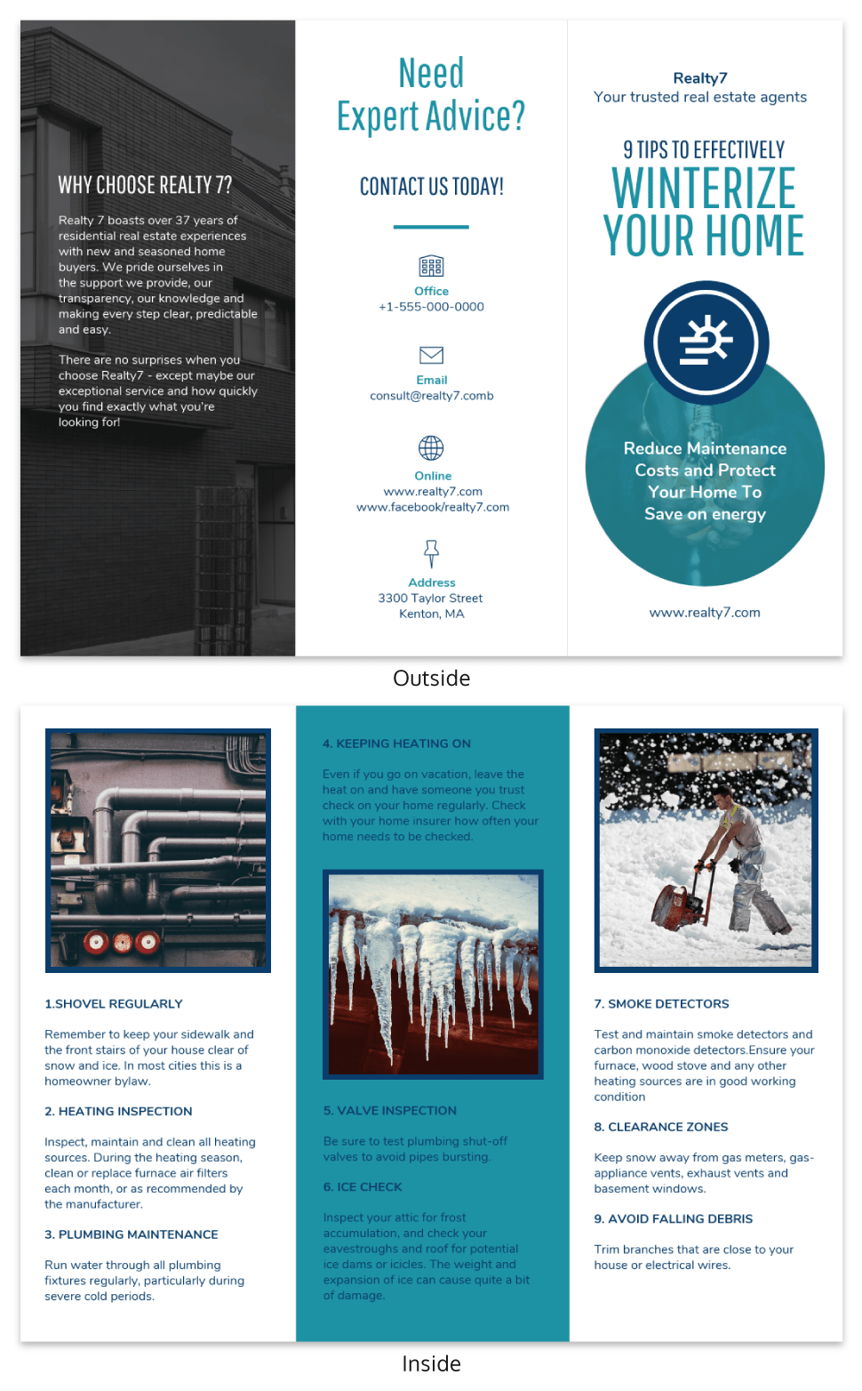 Real Estate Home Informational Tri Fold Brochure Template
