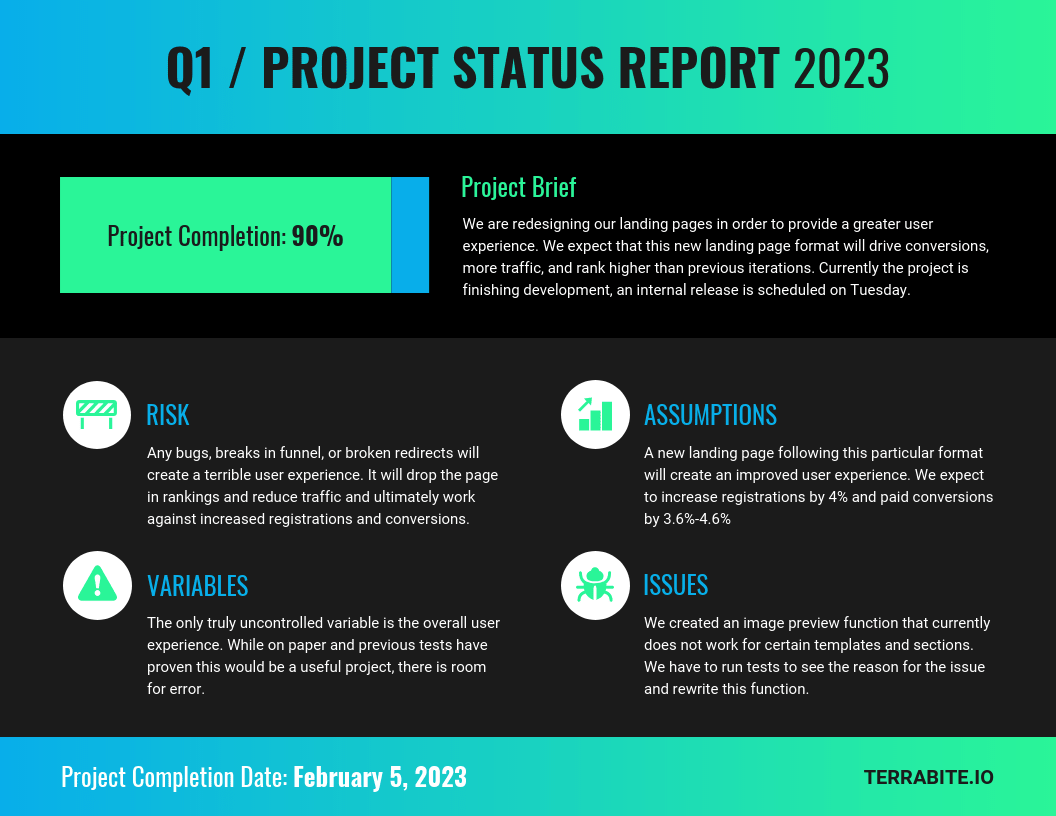 Neon Project Status Progress Report Template