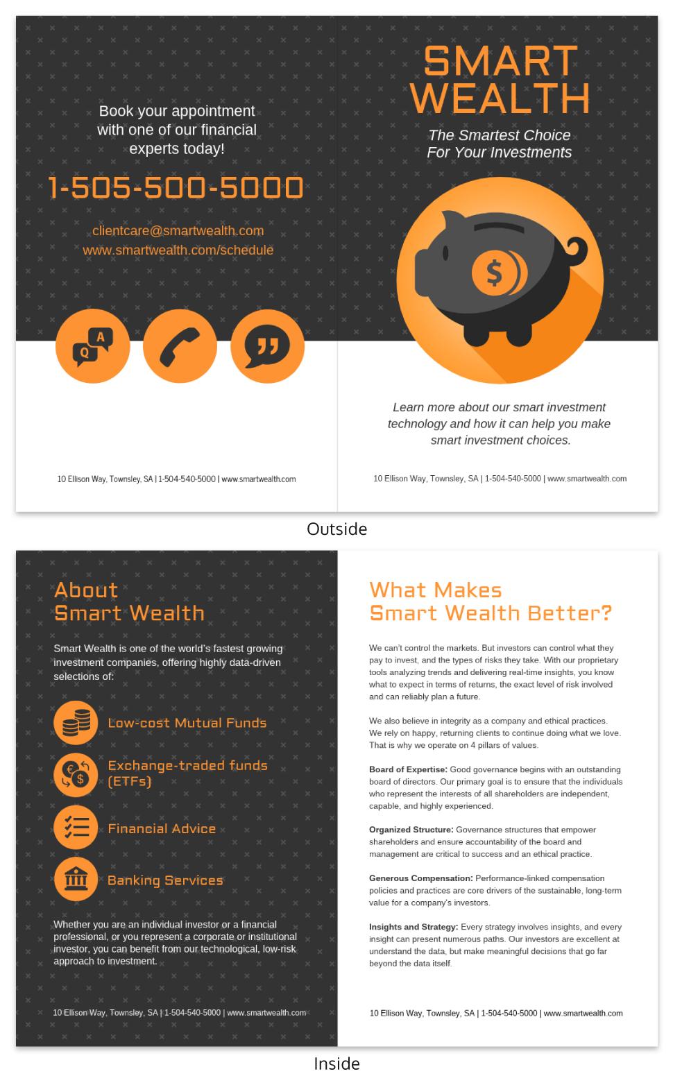 Dark Investment Business Bi Fold Brochure Template