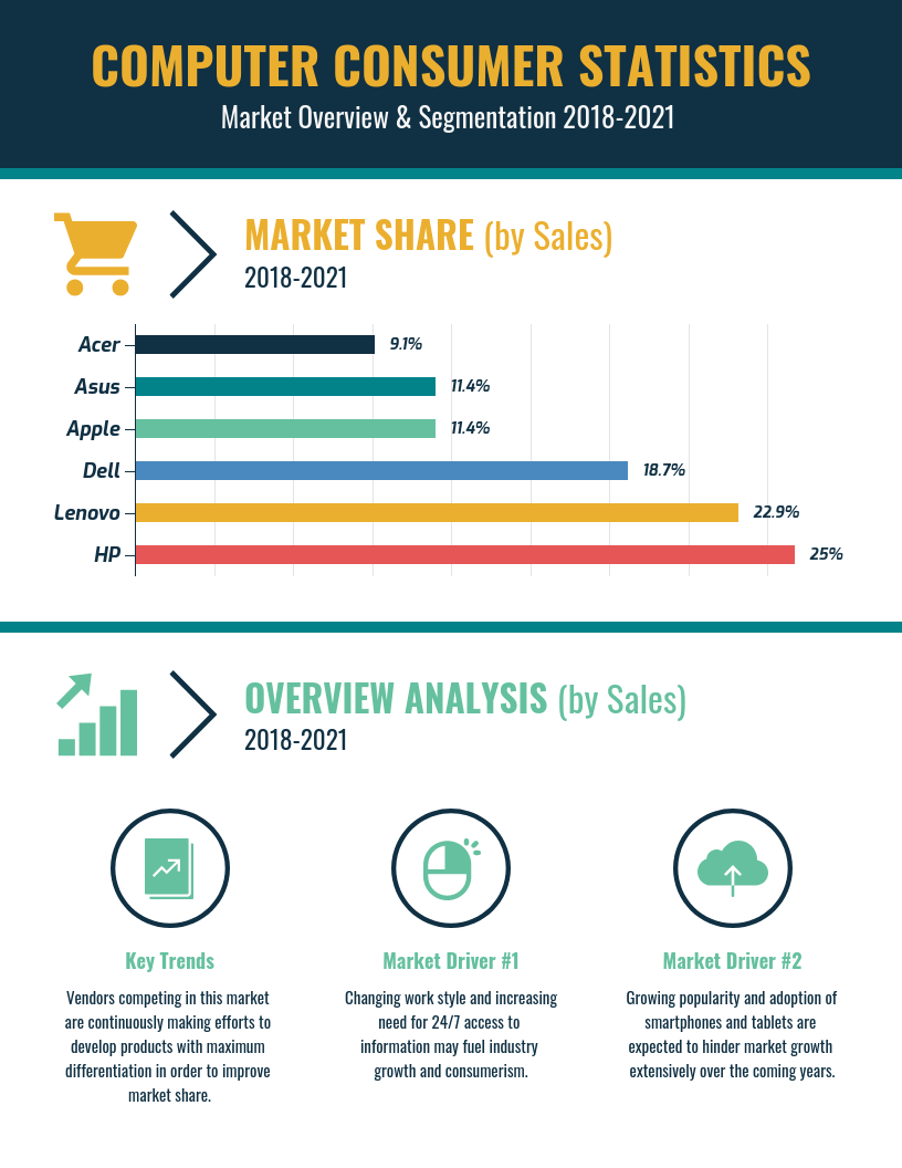 Computer Market Shares and Sales Infographic Template