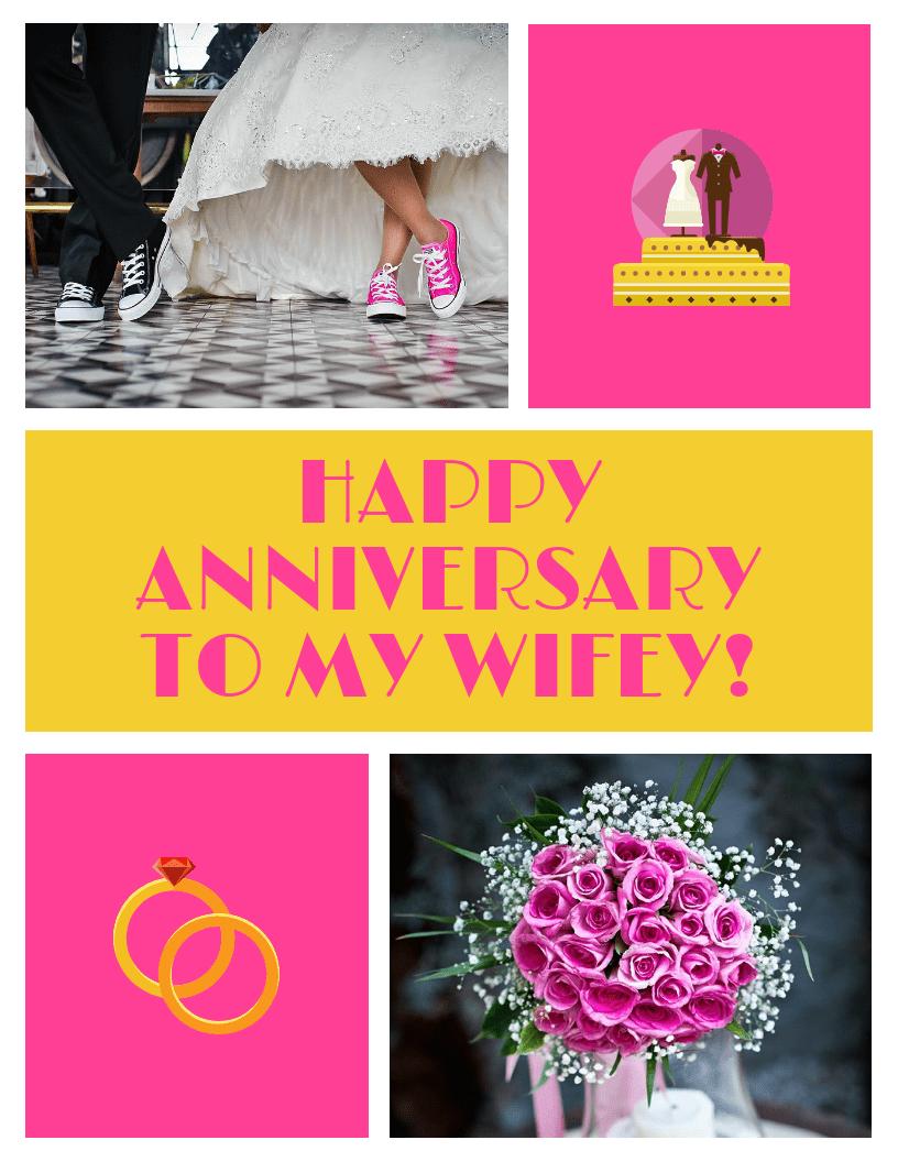 Wife Wedding Anniversary Card Template