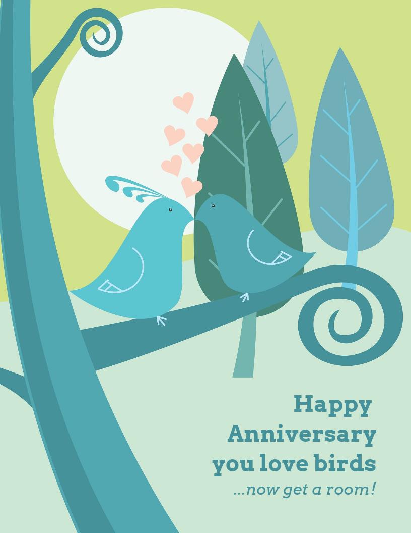 Love Birds Wedding Anniversary Card Template