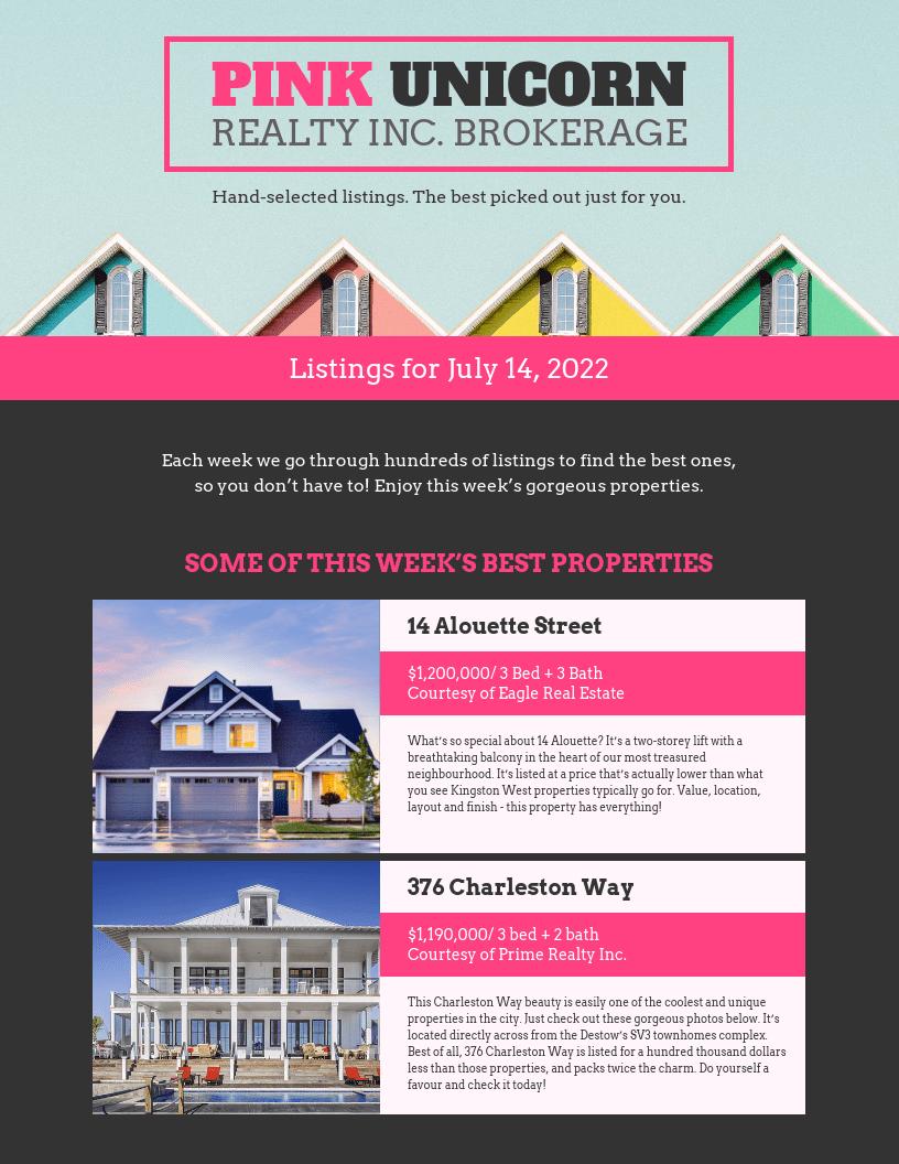 Dark Pink Real Estate Newsletter Template