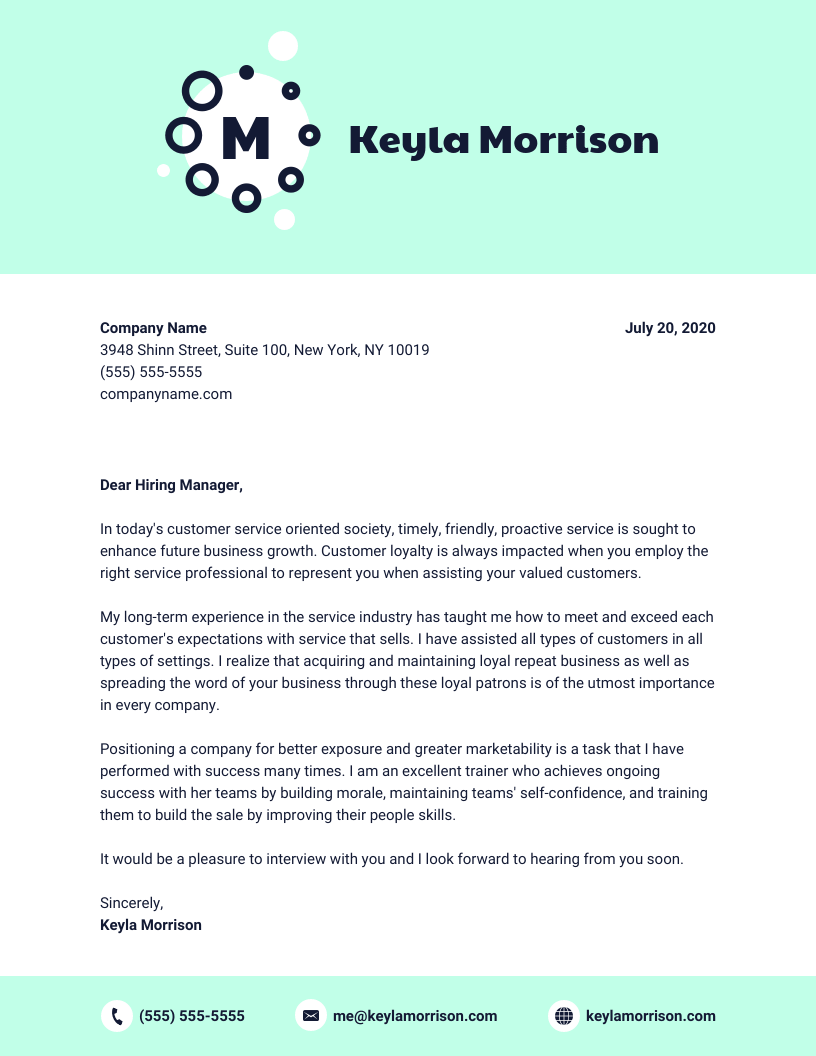 Blue Cover Letter Template