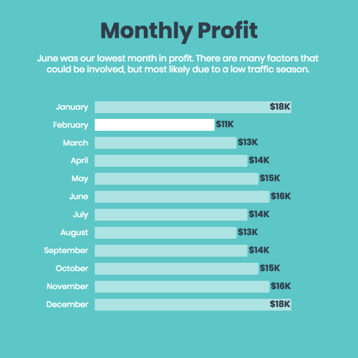 Monthly Profit Bar Chart Template