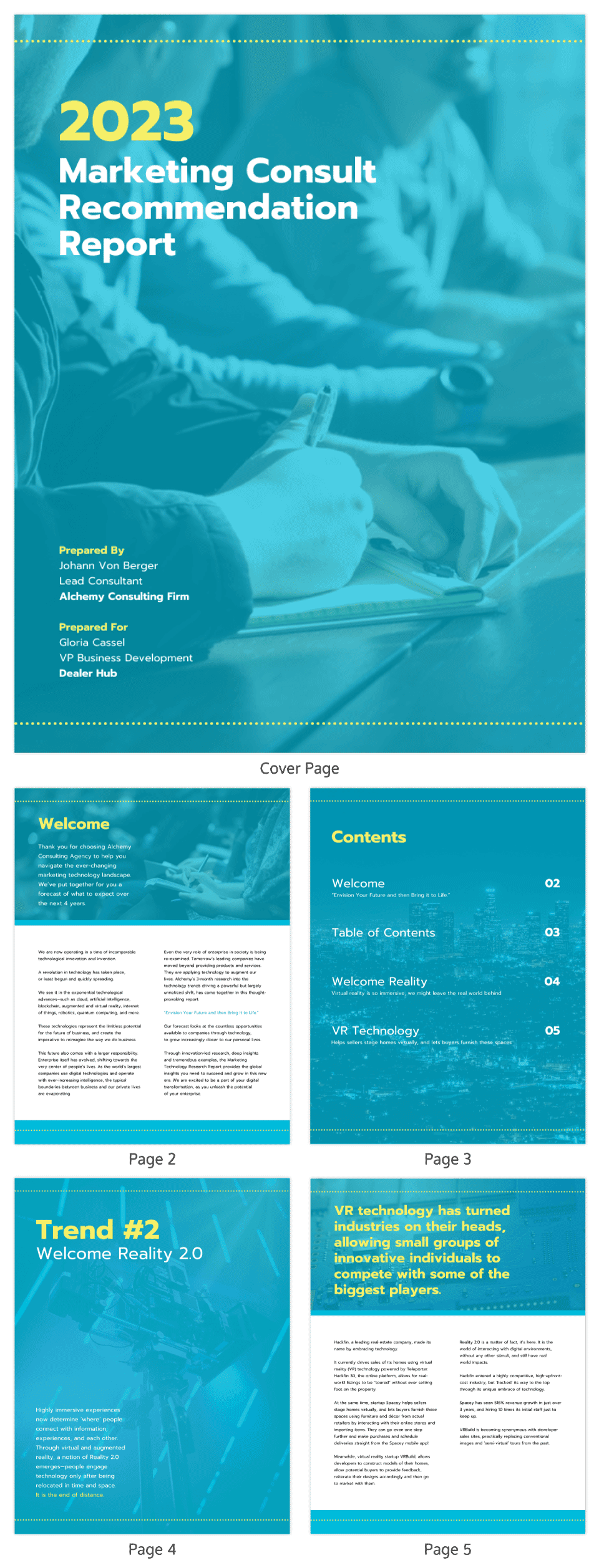 Marketing Consult Recommendation Report Template