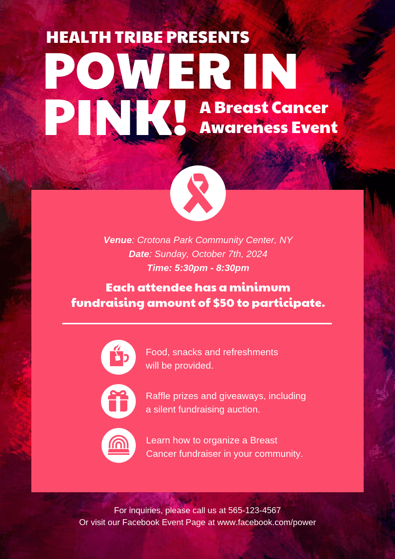 A4 Breast Cancer Nonprofit Event Poster Template