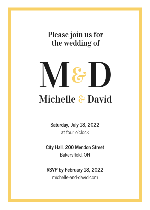 Simple Golden Wedding Invitation Template