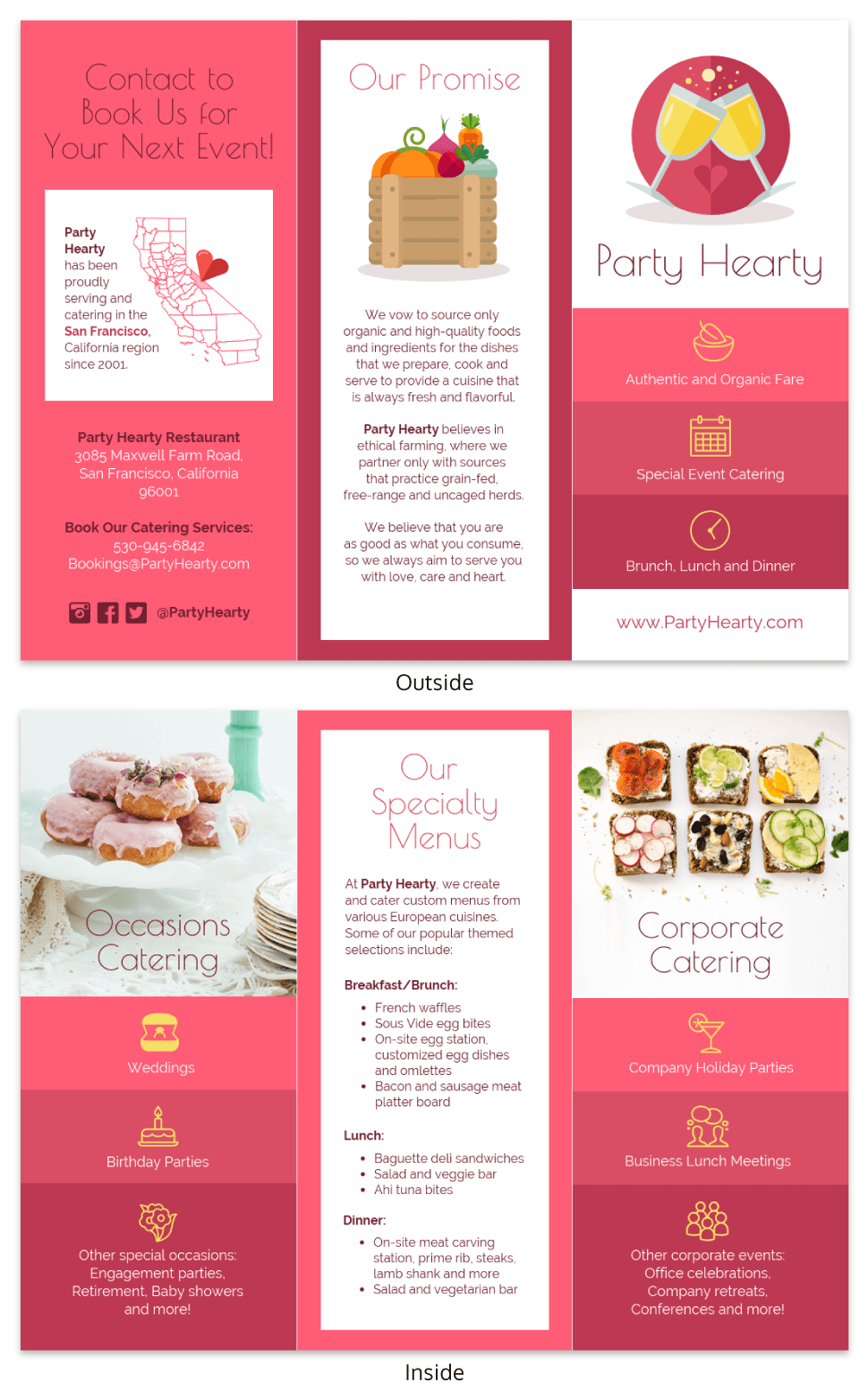 Catering Food Tri Fold Brochure Template